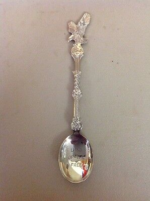 FREE SHIPPING!! VINTAGE ANTIQUE SOUVENIR SPOON- American Bald Eagle Land Free