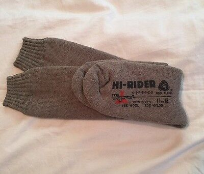Vintage Wigwam High Rider Socks Grey Wool Nylon Deadstock NWT Long Size 11-13