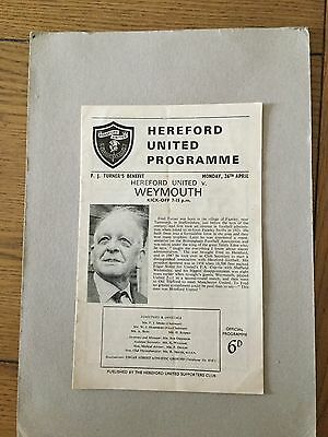 HEREFORD UNITED v WEYMOUTH ( Turner Benefit ) 1964/5.