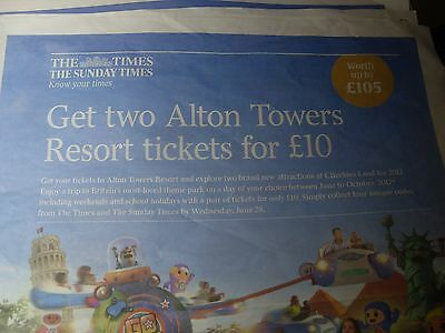Times Alton Towers voucher codes   Times Alton Towers 2 tickets for £10 offer.