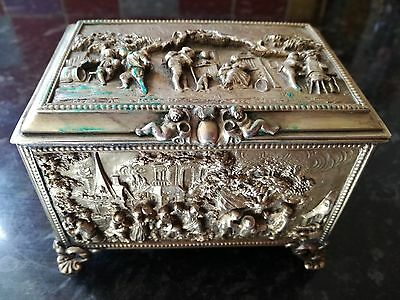 A.b Paris French Victorian Silver Plated On Bronze Casket Box High Raised Design