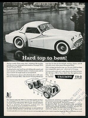 1960 Triumph TR3 TR-3 Grand Touring coupe car photo vintage print ad