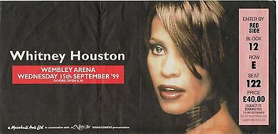 Whitney Houston Concert Ticket London 1999 Unused Complete  Dated Vintage 18 Yrs