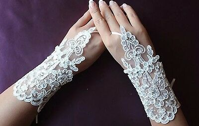 Ivory Lace & Crystal Wedding Gloves Short Fingerless Prom Party