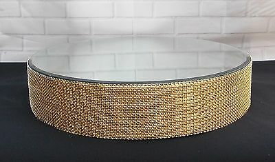 Gold Diamante Effect  Wedding Cake Stand 16 Inch Across Mirror Top