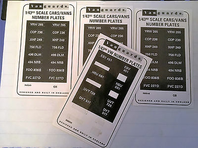 4 x VANGUARDS 1/43 SCALE NUMBER PLATES