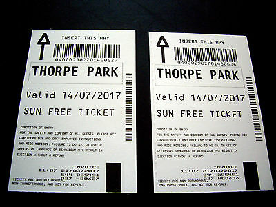 2 x Thorpe Park Tickets 14th July 2017
