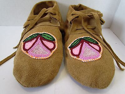 Traditional Native American Moccasins, Hand Made Leather Beaded Flower 9 Inches