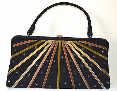 VINTAGE 1950s ART DECO DESIGN SOURE BAG NEW YORK HANDBAG PURSE BLACK & VELVET