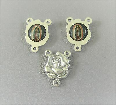 ROSE Rosary Center Mary Our Lady of GUADALUPE Italy Centerpiece Parts T137