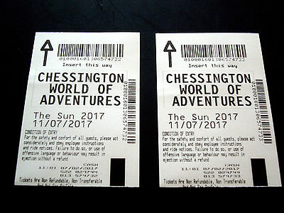 2 x Chessington World of Adventures Tickets 11th July 2017