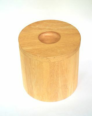 Vintage Wooden Ice Bucket Mid Century Design with Round Inverted Hole for Handle