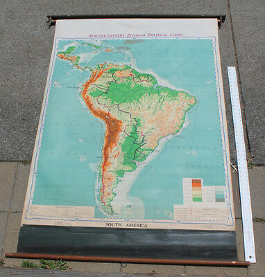 Vintage Mid Century Denoyer Geppert Political Series South America School Map