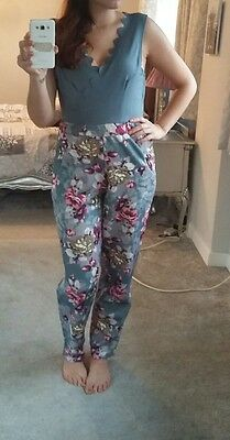 ladies womens size 14 floral teal and pink jumpsuit/playsuit