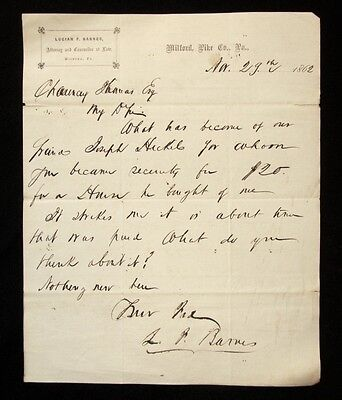 1862 LUCIAN F BARNES Attorney MILFORD PIKE COUNTY PA Pennsylvania LETTER HEAD