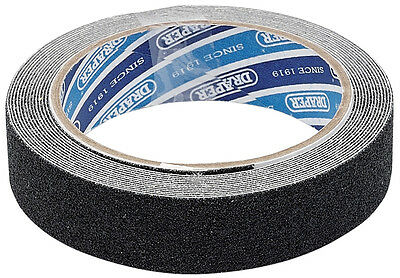 Genuine DRAPER 3.7M x 25mm Black Heavy Duty Safety Grip Tape Roll 63383