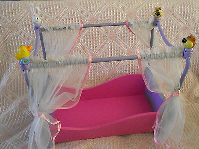 BABY BORN ~ FOUR POSTER WOODEN DOLL COT ~ Used
