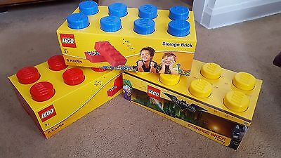 X3 NEW Lego Storage Brick sorting Containers Red Yellow Blue 2x4 8 knob boxes