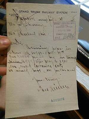 1915 Grand Trunk Railway System Cleveland Ohio Brockville Ontario Freight Letter