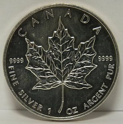 1990 Canada Maple Leaf .9999 Silver $5 Coin - 1 oz Troy - Five Dollars - JR586