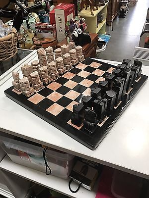 Vintage Marble Chess Set - Mexican Aztec Style - Hand Carved