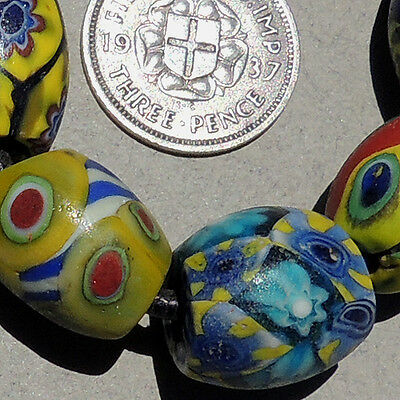 variety of 7 old antique venetian oval millefiori african trade beads #3213