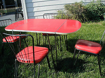 RARE Vintage Douglas DROP LEAF Red Formica and Chrome Kitchen Table  w/4 Chairs