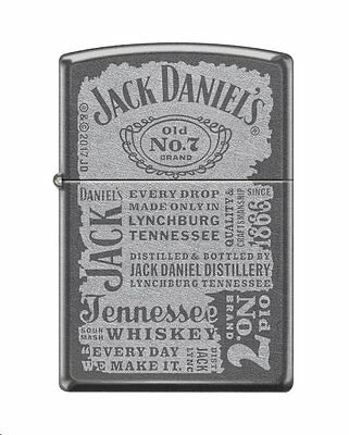 Zippo 0926, Jack Daniels Tennessee Whiskey, Old No. 7 Brand, Gray Dusk Lighter