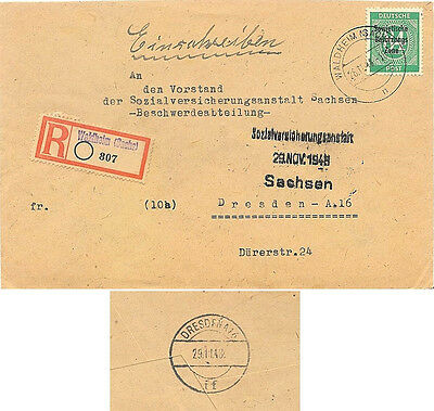 1948 Waldheim, Germany {Soviet Zone} Cancel on Registered Cover Sent to Dresden~