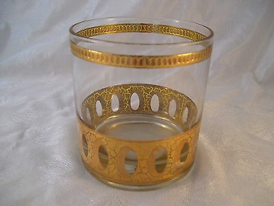 Vintage Culver Barware Crackle Design Rocks Glass Old Fashioned Low Ball Gold