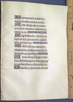 Fine complete Medieval Illuminated Quire of 8 Leaves on Vellum, Gold Init.c.1470