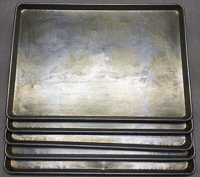 "LOT OF 5-17 3/4"" x 25 3/4"" FULL SIZE SHEET PIZZA/BAKING PANS-GOOD USED CONDITION"