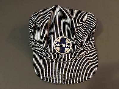 Vintage Santa Fe Railroad Conductor Blue/White Striped Billed Hat