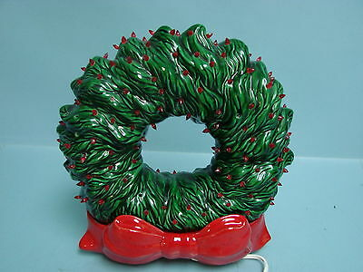 Vintage Light Up Ceramic Christmas Wreath Holiday Xmas Red Bow Pottery Noel
