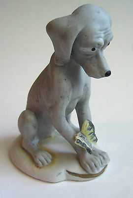 Skinny Gray Puppy Dog Bisque Porcelain Figurine Yellow Butterfly on Foot