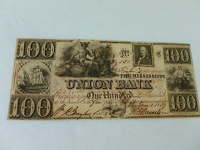 Obsolete Currency 1839 $100 Banknote From Mississippi Union Bank of Jackson, MS
