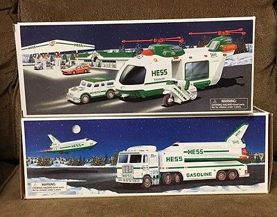 1999 Hess Toy Truck and Space Shuttle with Satellite 2001 Helicopter Motorcycle
