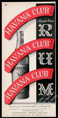 1943 Havana Club Rum Cuban Cuba rum bottle red stripe art vintage print ad