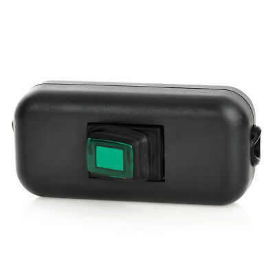 Water Resistant In-Line On/Off Rocker Switch with Green Light for Electric DIY