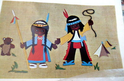 "Mid-Century NIP 1960s German INDIAN CHILDREN WALL HANGING Felt ""Tapestry"""