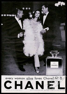 1962 Chanel No.5 perfume classic bottle woman 2 men photo vintage print ad 1