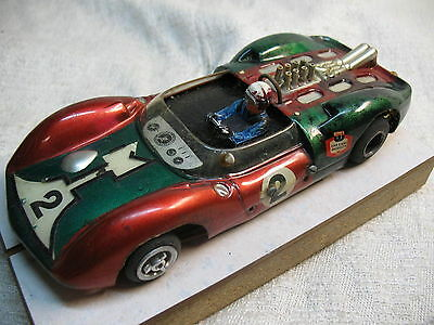 1/24 Scale Vintage Modified Lotus 40 Can-Am Scratch-Built Red/green Slot Car