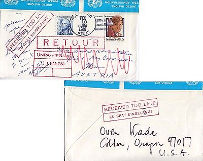 1980 to UN Vienna United Nations Postal Administration Vienna Official Seals