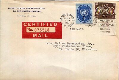 8c UN Seal and 20c World Unity 1963 Airmail Certified to St. Louis, Mo