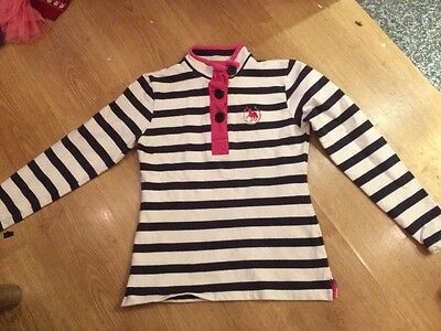 Ladies Horse Riding Top Crane 8-10 Worn Twice Navy Stripe Cotton Stretch