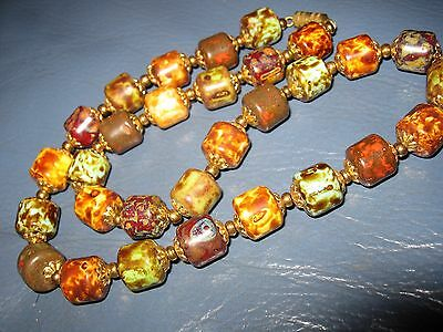 VINTAGE Antique 1930's ART DECO MURANO Agate GLASS CHUNKY BEAD NECKLACE 19 INCH