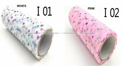 Glitter Heart Sequin Tulle Roll 10yds 6inch Tutu Wedding Decoration Crafts S3