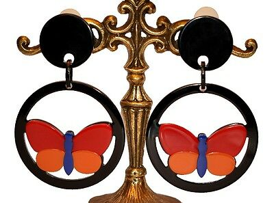 French Exquisite Resin Marquetry Figural Butterfly Dangling Clip On Earrings
