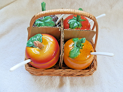 Set Of 4 Japan Fruit Condiment Jars In Basket Notched Lids With Spoons