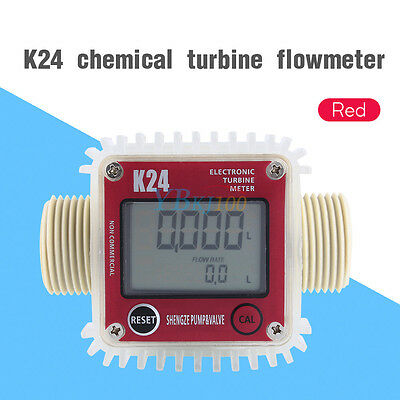 K24 LCD Turbine Diesel Fuel Flow Meter Anti-corrosion fr Oil Urea Chemical Water